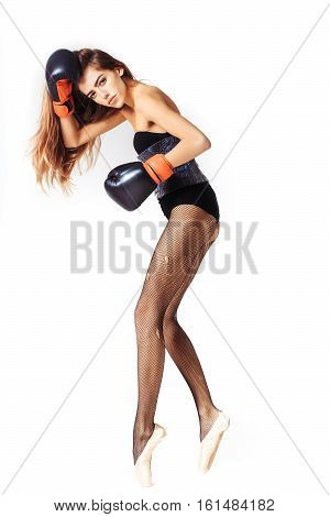 Pretty Ballerina Girl In Boxing Gloves