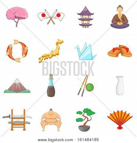 Japan icons set. Cartoon illustration of 16 Japan travel items vector icons for web