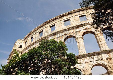 The Roman amphitheater in Pula. Of Croatia. Istrian Peninsula.