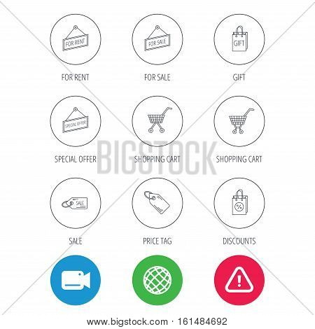 Shopping cart, gift bag and sale coupon icons. Special offer label linear signs. Discount icon. Video cam, hazard attention and internet globe icons. Vector