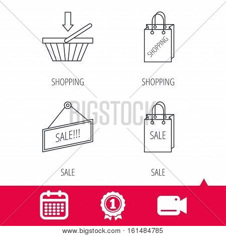 Achievement and video cam signs. Shopping cart, sale bag icons. Sale label linear sign. Calendar icon. Vector