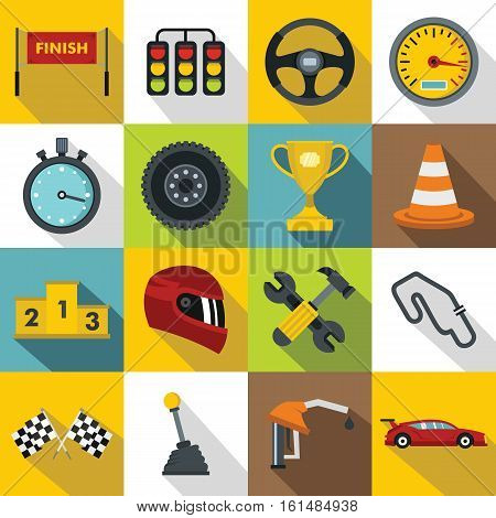 Racing speed icons set. Flat illustration of 16 racing speed vector icons for web
