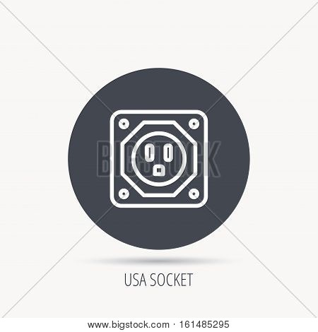 USA socket icon. Electricity power adapter sign. Round web button with flat icon. Vector