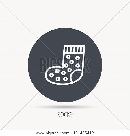 Sock icon. Baby underwear sign. Clothes symbol. Round web button with flat icon. Vector