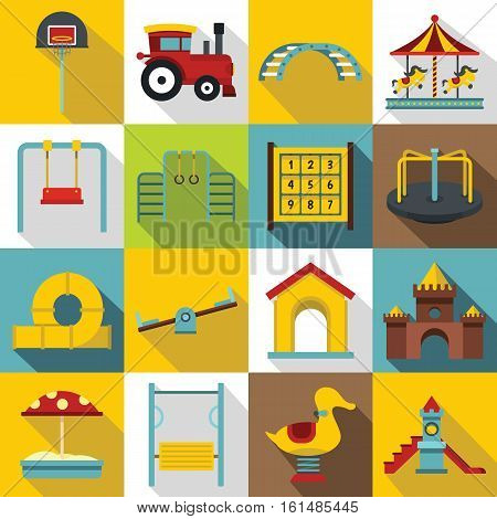 Playground icons set. Flat illustration of 16 playground vector icons for web