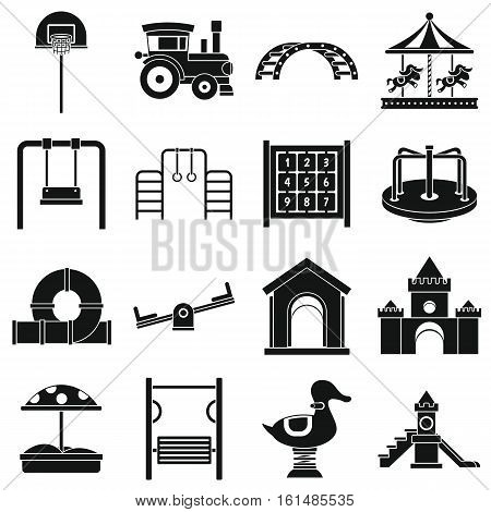 Playground icons set. Simple illustration of 16 playground vector icons for web