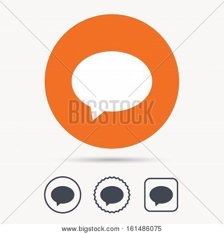 Speech bubble icon. Chat symbol. Orange circle button with web icon. Star and square design. Vector