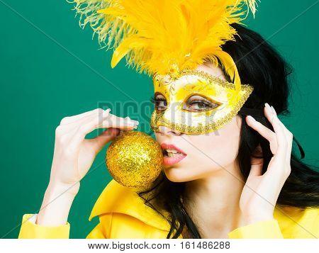 Pretty Girl In Carnival Mask