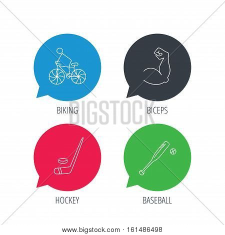 Colored speech bubbles. Biking, biceps and ice hockey icons. Baseball linear sign. Flat web buttons with linear icons. Vector
