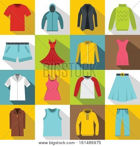 Different clothes icons set. Flat illustration of 16 different clothes items vector icons for web