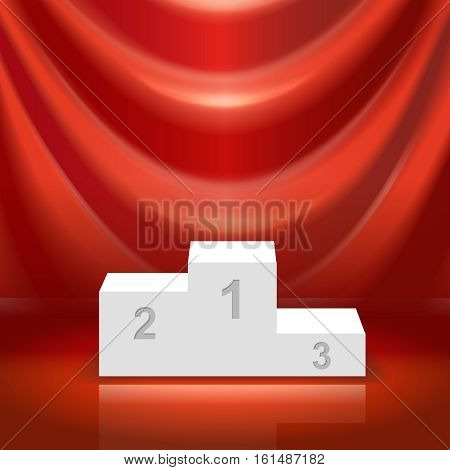 Podium for the winners and red curtain vector illistration