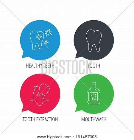 Colored speech bubbles. Tooth, mouthwash and healthy teeth icons. Tooth extraction linear sign. Flat web buttons with linear icons. Vector