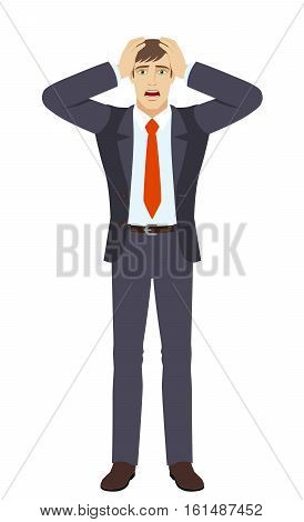 Businessman with surprise expression on face. Full length portrait of businessman in a flat style. This vector illustration is ideal for animation advertising presentations e-learning courses or for other projects.