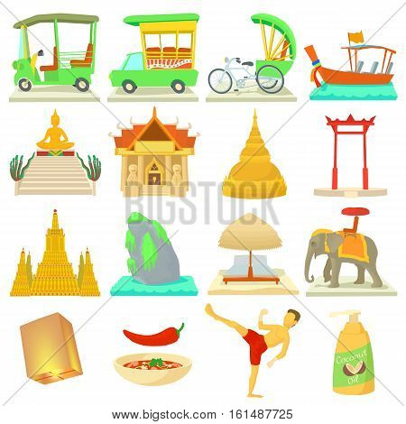 Thailand travel icons set. Cartoon illustration of 16 Thailand travel vector icons for web