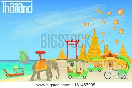 Thailand travel concept. Cartoon illustration of Thailand travel vector concept for web