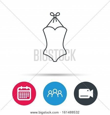 Swimsuit icon. Women swimwear sign. Group of people, video cam and calendar icons. Vector