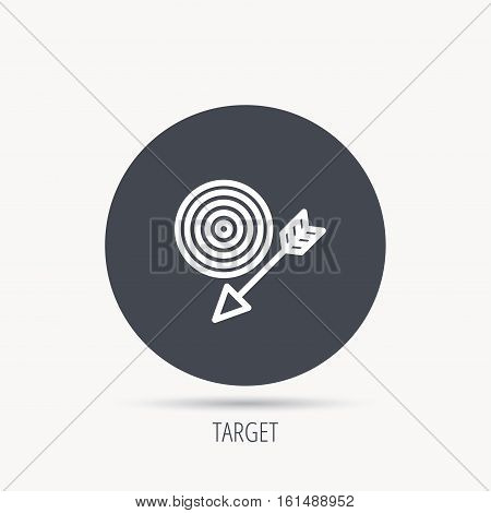 Target with arrow icon. Dart aim sign. Round web button with flat icon. Vector