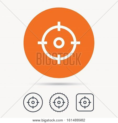 Target icon. Crosshair aim symbol. Orange circle button with web icon. Star and square design. Vector