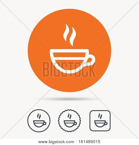 Tea cup icon. Hot coffee drink symbol. Orange circle button with web icon. Star and square design. Vector
