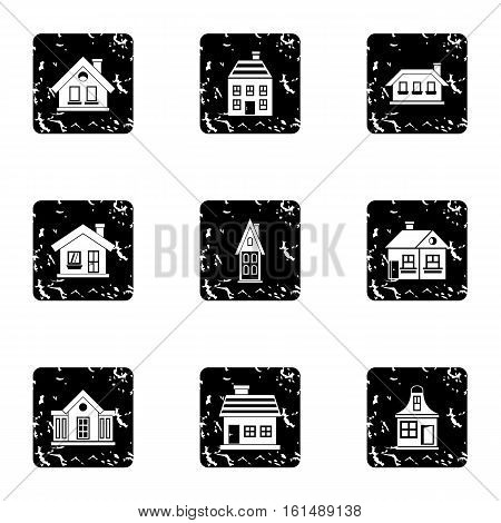 Residence icons set. Grunge illustration of 9 residence vector icons for web