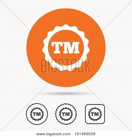 Registered TM trademark icon. Intellectual work protection symbol. Orange circle button with web icon. Star and square design. Vector