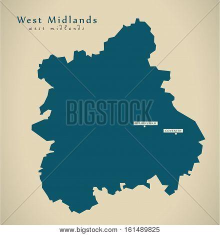Modern Map - West Midlands Uk England Illustration