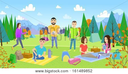 Picnicking happy lifestyle park together. Enjoying meadow vacation character vector illustration. Summer vacation resting outdoor. young woman and man, lovely couple