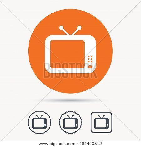 TV icon. Retro television symbol. Orange circle button with web icon. Star and square design. Vector