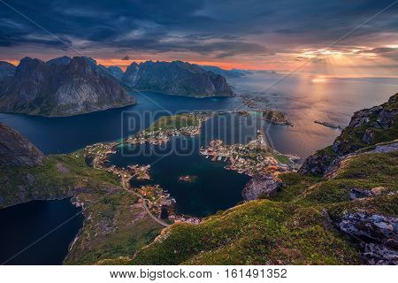 Norway. View from Reinebringen at Lofoten Islands, Norway.