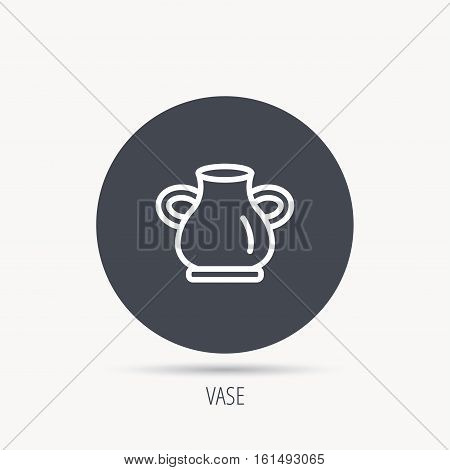 Vase icon. Decorative vintage amphora sign. Round web button with flat icon. Vector