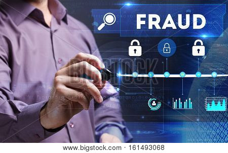 Technology, Internet, Business And Marketing. Young Business Person Sees The Word: Fraud