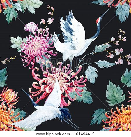 Beautiful pattern with nice watercolor hand drawn cranes and flower