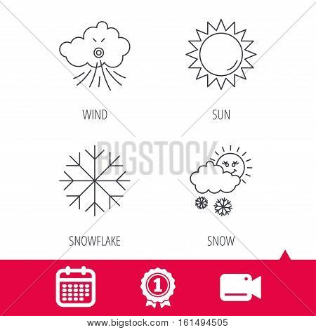 Achievement and video cam signs. Weather, sun and snow icons. Wind and snowflake linear signs. Calendar icon. Vector