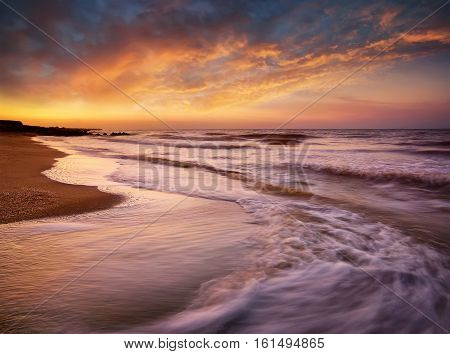 Seascape during sundown. Beautiful natural seascape in the summer time