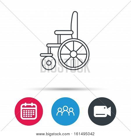 Wheelchair icon. Disabled traffic sign. Group of people, video cam and calendar icons. Vector