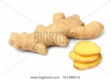 Ginger root with slices isolated on white background.