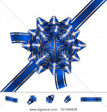 Bow knot with ribbon; Vector set of elements; Blue Version; Eps10