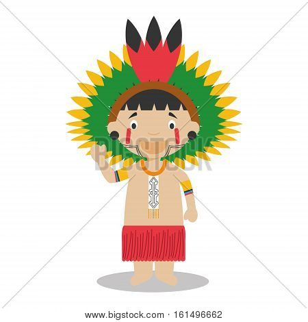 Character from Amazon Region in Brazil and Venezuela dressed in the traditional way Vector Illustration. Kids of the World Collection.