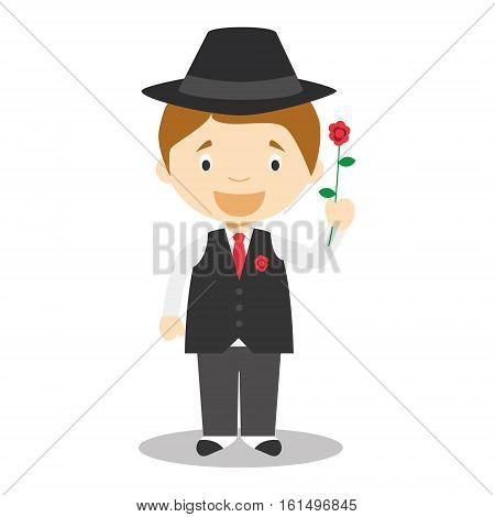 Character from Argentina dressed in the traditional way as a tango dancer with a rose. Vector Illustration. Kids of the World Collection.