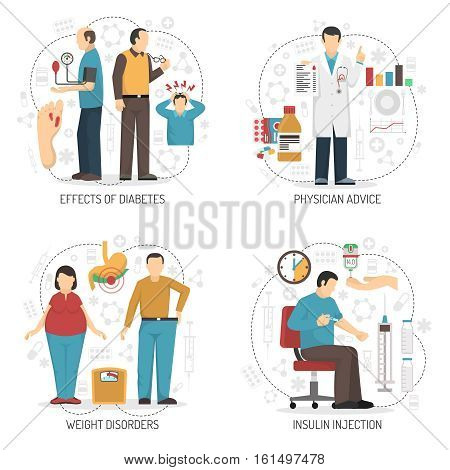Diabetes 2x2 design concept set of symptoms weight disorders insulin injection and physician advice flat compositions vector illustration