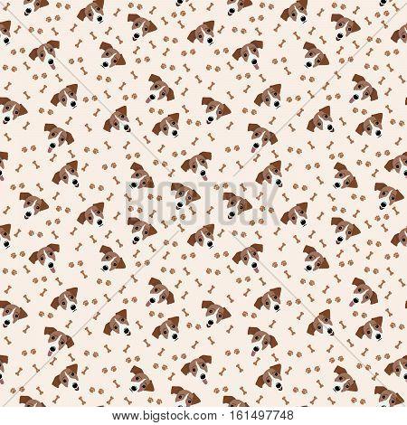 Jack Russell Terrier Vector Seamless pattern. Dog, bone, paw print