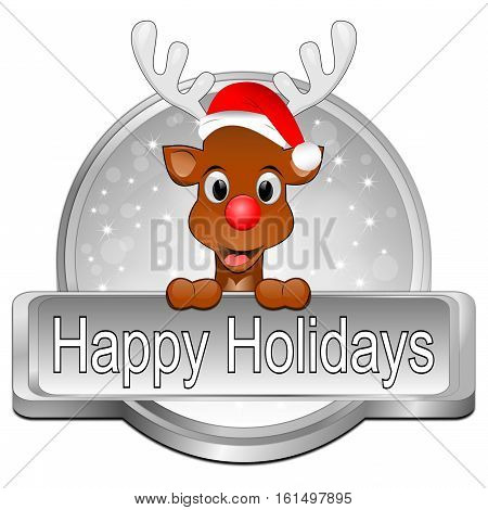 silver Reindeer wishing Happy Holidays Button - 3D illustration