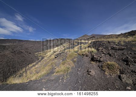 Etna Crater And Volcanic Landscape Around Mount Etna, Sicily, Italy