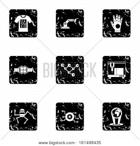 Electronic devices of future icons set. Grunge illustration of 9 electronic devices of future vector icons for web
