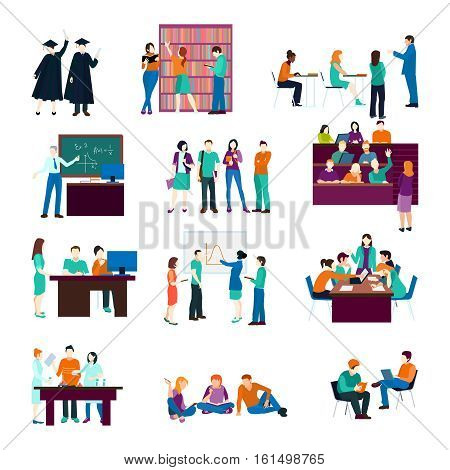 University person collection with learning listening studying discussing reading students in flat style isolated vector illustration