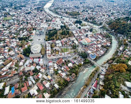 aerial view of the central part of Kutaisi with Rioni river, Georgia