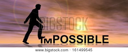 Concept or conceptual 3D illustration human man or businessman black silhouette on impossible or possible text at sunset banner