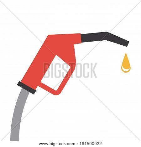 gas pump nozzle and oil drop icon over white background. colorful design. vector illustration