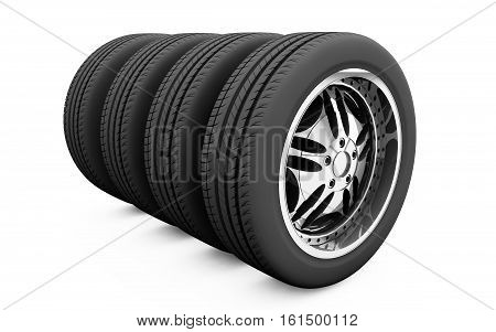 3d tire and alloy wheel detail, silver, sport, metal, isolated, white