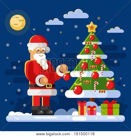 Flat design vector stock illustration of Santa Claus in glasses decorate Christmas tree. Candy, christmas ball, gift boxes, snow, moon, snowflakes. New Year & Christmas concept for gift card or banner